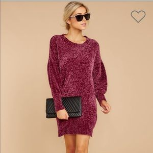 Red Dress Boutique Red Chenille Sweater Dress NWOT